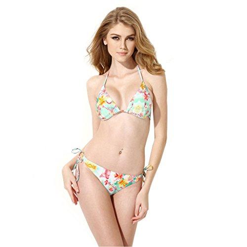 Colloyes Damen Bikini Set Florale Bademode Badeanzug Triangle Top Padded Bandage Swimsuit L -