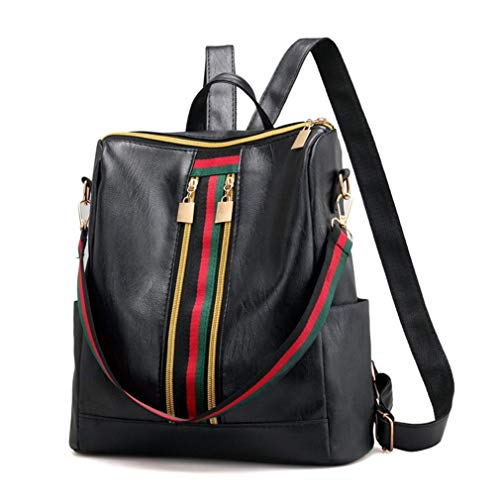 (YX Damen Rucksack Lässiger roter und grüner gestreifter Rucksack der Mode Multifunktionaler, wasserdichter Reise-Rucksack aus PU-Leder Studentin Tasche Handtasche Rucksack Dual-Use-Tasche (schwarz))