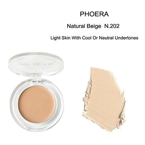 Concealer Cover Phoera Powder Concealer Control Oil Matte Pearl Finishing Powder Pressed Powder 9 Farben (1 x 16.8g, Mehrfarbig 202#)