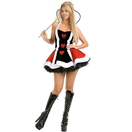 Zhongsufei Halloween-Spiele-Party Frauen Sexy Uniform Herz Königin Hexe Fancy Adult Cosplay Halloween Kostüm Set Maskerade-Abendkleid