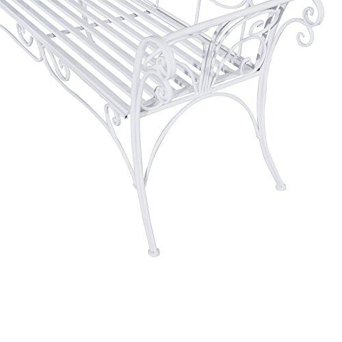 Outsunny Gartenbank, Metall, weiß, 134 x 51 x 89 cm, 840-053 - 9