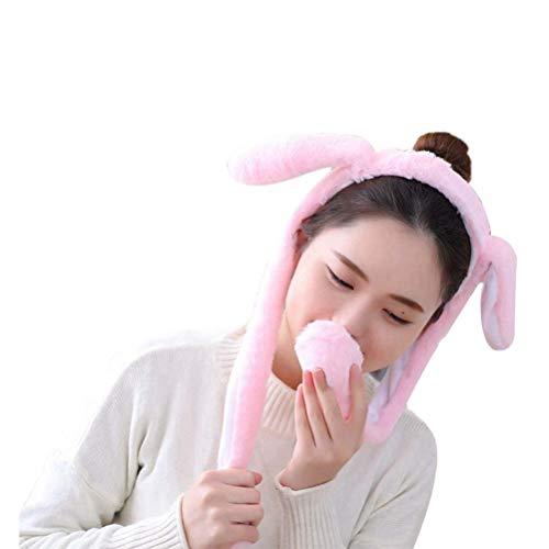 Amosfun Plüsch Bunny Hat Gefüllte Kaninchen Mütze Ohren Aufspringen beim Drücken der Pfoten Weiches Plüschspielzeug für Kinder Erwachsene Pink (Hat Rosa Ohren Bunny)