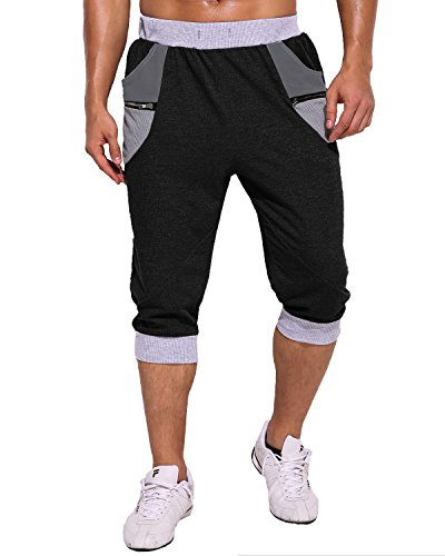 MODCHOK Uomo Pantaloncini Sportivi Bermuda Jogging Tasche Sportivo Casuale Cordone Nero5