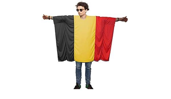 Belgian Flag Poncho OneSize Belgium Fancy Dress Supporter Costumes
