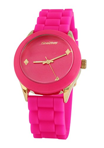 nine2five asdc07rsrs seductor de la mujer rosa banda de silicona rosa Dial reloj