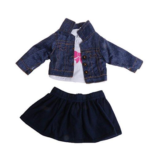 LyGuy Mantel + Hemd + Rock für 18-Zoll-American Girl Doll Dress Up Outfit Mantel, 1 (Möbel 18-zoll-puppen Doll)