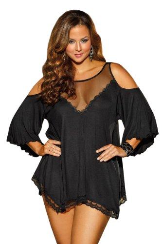 Shirley of Hollywood Nummer x3257Größe 1x schwarz Viskose Jersey Knit Sleepshirt mit String (Jersey-sleepshirt)