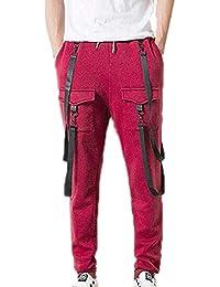 huateng Pantaloni Sportivi da Uomo Jogger Stile Hip Hop e73f6e87b075