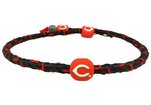 MLB Cincinnati Reds Black Leather/ Red Thread Team Color Frozen Rope Baseball Necklace
