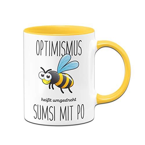Tassenbrennerei Bienen Tasse mit Spruch Optimismus heißt umgedreht Sumsi mit Po lustige Bürotasse Sprüche Tassen lustig - gelb