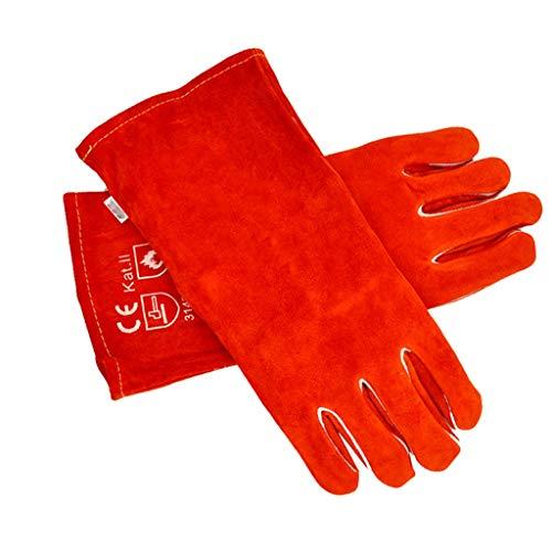 huhe- Schweißhandschuhe-Heavy Duty Hitzebeständige Flammhemmende Schweißen Handschuhe Aus LederPremium Core Skin (Farbe : Orange and White) ()