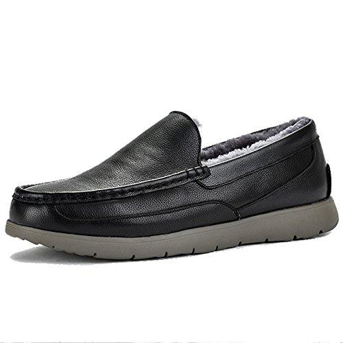 OZZEG Hiver mocassins masculine chaussures chaude Shearling doublure cuir plus récent conçu Noir
