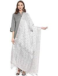 AKHILAM Women's Pashmina Silk Winter Wear Dupatta Printed With Jhallar (freesize_White & Olive Green_PD09)