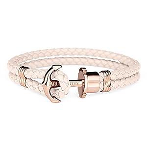 PAUL HEWITT Anker Armband Damen PHREP – Segeltau Armband Frauen, Leder Armband Damen (Rosa) mit Anker Schmuck aus IP-Edelstahl (Rosegold)