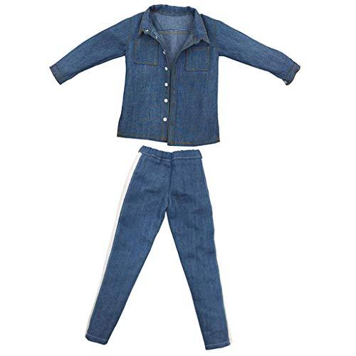 Männlich Kostüm Cowboy - P Prettyia 1/6 Kostüm Männliche Puppe Cowboy Shirt + Jeans Hosen Für 12 Zoll Abbildung Zubehör