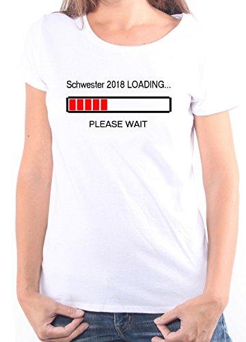 Mister Merchandise Ladies Damen Frauen T-Shirt Schwester 2018 Loading Tee Mädchen bedruckt Weiß