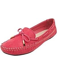 Baymate Mujer Comodidad Mocasines Piso Zapatos de Conducción con Bowknot