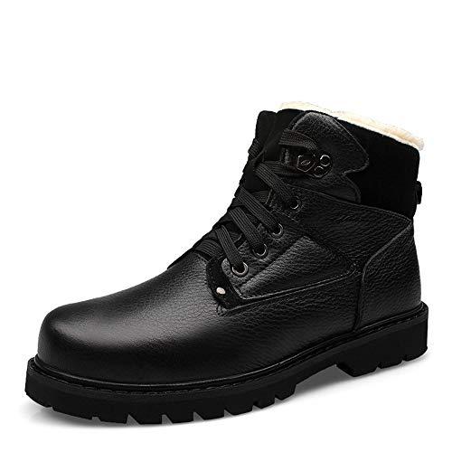 BND-SHOES , Herrenmode Stiefel Casual Klassisch Runde Zehe Winter Fleece Inside High Top Boot dauerhaft; Standverschleiß (Color : Schwarz, Größe : 47 EU) -
