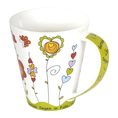 °*Farbenfrohe Jumbotasse - Herz Blumen mit Text 0,4l (grün)