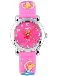 Reloj de pulsera con esfera con muñeca Barbie - fino - color llamativo - manecillas huecas - correa de silicona