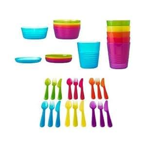 IKEA KALAS 36-Teiliges Kinder Ess Set, Schüsseln, Teller, Becher, Besteck farbl.. sortiert geeignet f. Spühlmaschine und Mirkowelle