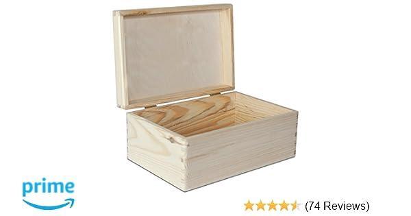 27bb3363b0 Large Wooden Box Storage Keepsake Wood Plain Unpainted