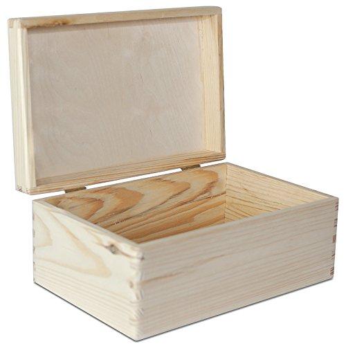 Creative Deco Grande Boîte de Rangement Bois | 30 x 20 x 14 cm | Non Peinte Caisse Coffre Malle pour Décorer avec Couvercle | sans Poignées | Parfait pour Jouets, Outils, Documents et Objets