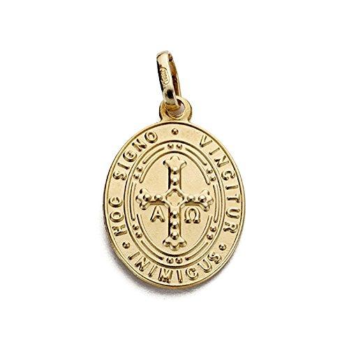 Medalla escapulario oro 18k virgen covadonga y cruz asturiana 20mm. [AA1924]