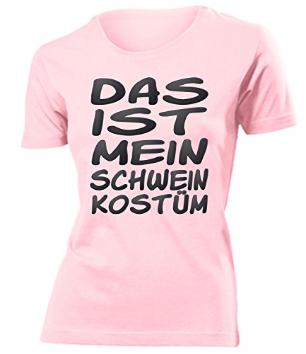 Schwein Kostüm Kleidung 5247 Damen T-Shirt Frauen Karneval Fasching Faschingskostüm Karnevalskostüm Paarkostüm Gruppenkostüm Rosa XL