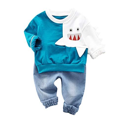 Realde--Baby Jungen Langarm Top Sweatshirt+Lange Jeanshosen Set Mode Freizeit Cartoon Hai Druckenkind Infant Sport T-Shirt Oberteile Herbst und Winter Trainingsanzug Outfits Kleidung