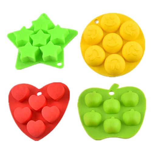 Silikon Eiswürfelform Set 4 - Herz, Stern, Apfel & Lächeln Gesicht, auch Schokolade/Suppenform - BPA frei, verschiedene zufällige Farben