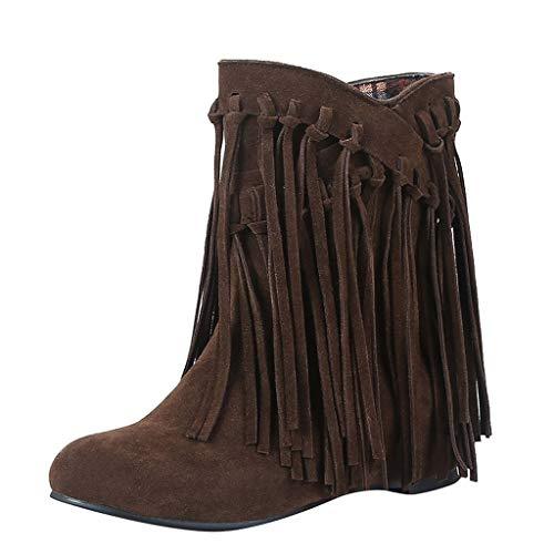 ZHANSANFM Kurz Stiefel Damen Unifarben Quaste Ankle Boots Trendige Wildleder Chelsea Stiefeletten Lederoptik Freizeitstiefel Schöne Flache Runde Kopfstiefel Leicht Vintage Schuhe (37 EU, Kaffee)