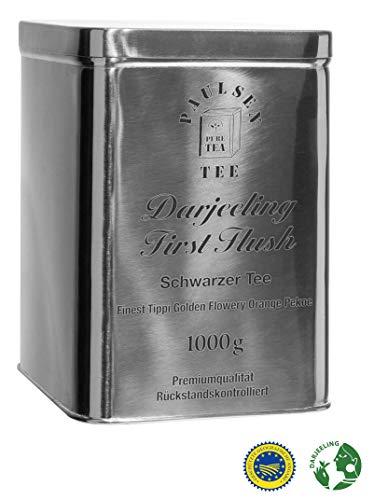 Darjeeling First Flush Ernte 2018, Schwarzer Tee in sehr hochwertiger Edelstahldose Silber glänzend 1000g, rückstandskontrolliert & zertifiziert
