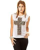 24brands Vokuhila Shirt Oberteil Top Hemd Bluse Damen Muster Kreuz (1883)