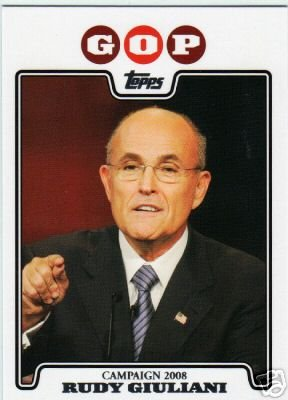 2008 Topps Campaign 2008 #RG Rudy Giuliani - GOP - Republican Presidential Candidate Baseball Cards - MLB Baseball Trading Card in a Screw Down