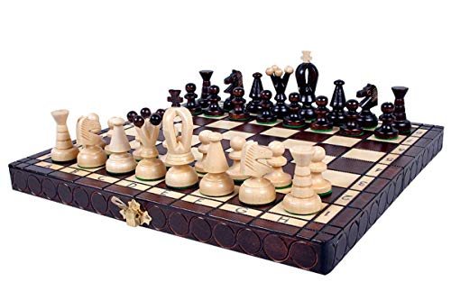 KADAX Schachspiel, Schach aus hochwertigem Holz, für Kinder, Erwachsene, Anfänger, Schachbrett mit Figuren, Schachkassette für Haus, Reise, klappbar, Königshöhe: 65 mm (Feldgröße: 30 x 30 cm)