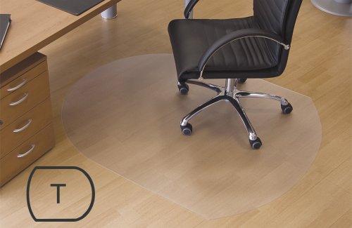 """Transparente Bodenschutzmatte, 120 x 150 cm, Sonderform \""""T\"""", aus Makrolon®, Schutzmatte für Parkett-, Laminat- & PVC-Böden, 17 weitere Größen wählbar"""