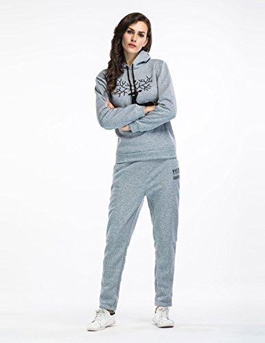 Sitengle Donna Tuta 2PCS Caldo Tracksuit Sportswear Pullover Hoodie Sweatshirt Alce Stampa Manica Lunga Felpe Con Cappuccio + Relaxed Pantaloni Grigio