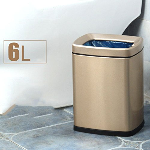 Mülleimer Trash Can Double Layer Edelstahl Square Mode Ideen Home Wohnzimmer Schlafzimmer Storage Barrels (Farbe : Gold) (Storage-ideen Schlafzimmer)