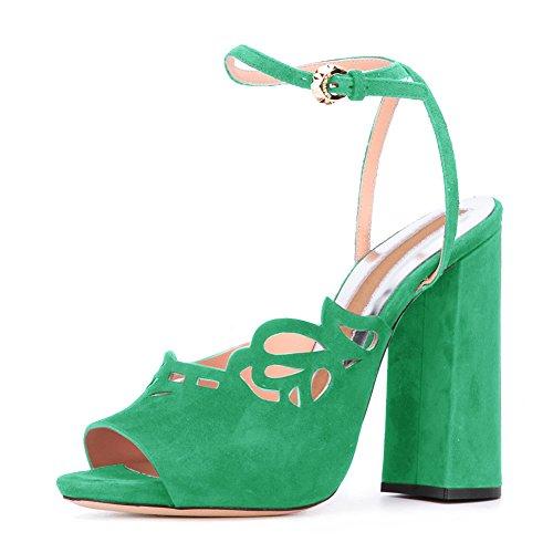 67c6e2c896888e Damen Peep Toe Sandalen Samt Blockabsatz High-Heels Slingback  Knöchelriemchen Grün