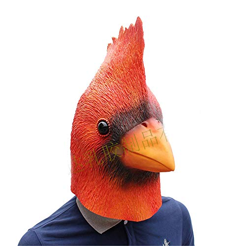 BaronHong Kardinal Vogel Cosplay Halloween Party Realistische Latex Kopfbedeckung 3D Maske (rot, M) (Latex Maske Vogel)