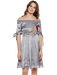 Silver satin off shoulder shoulder dress with slit sleeves and floral embroidery