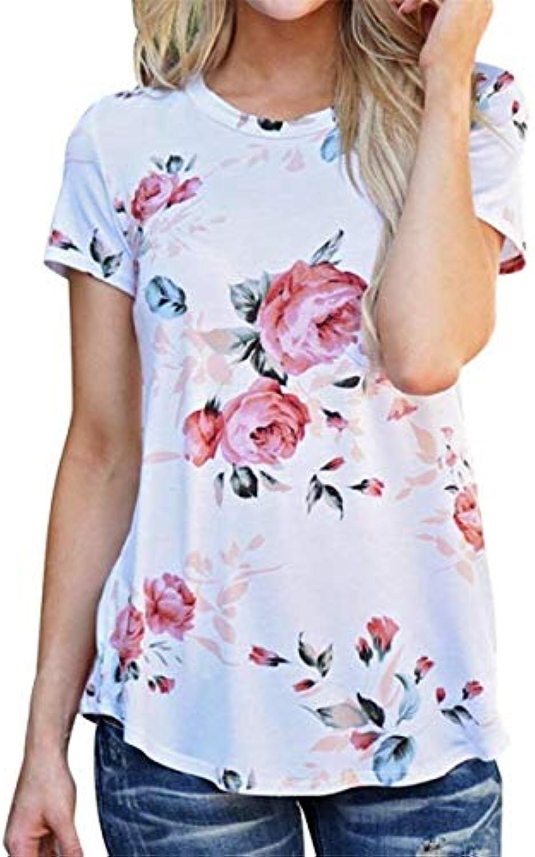 T-Shirt Donna Estivi Eleganti Moda Camicetta Unico Corta Stampate Floreale  Manica Corta Unico rossoondo Collo Slim Fit Maglietta... B07GJKYGJ9 Parent  59990b 040d4a326189