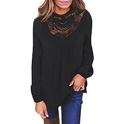 MORCHAN❤Femmes Dames Sexy Casual Dentelle O Cou Automne Hiver Lâche Élégant Solide T-Shirt À Manches Longues Tops Mode Blouse(FR-46 / CN-XL,Noir)