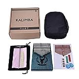 Navigatee Piano de pouce de clés de Kalimba 17, cadeau de Noël de sac de renne de piano d'acajou pour les mélomanes débutants et enfant - bleu (35 * 115 * 135 * 185mm)