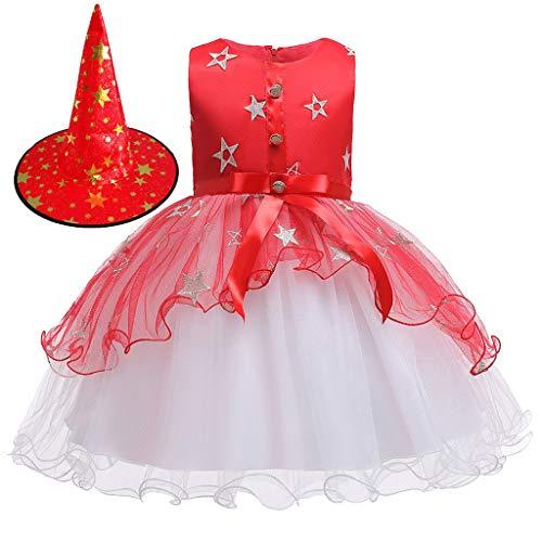 Sterne Dress Set Herr Kostüm Up - Romantic Kinder Baby Mädchen Halloween Kostüme Kurzarm Cosplay Kleid Prinzessin Kostüm Kleider mit Bowknot und Sternen, Hexe Hut 2er Set Fancy Dress Verkleiden Kostüme für Halloween (Rot 2, 150)