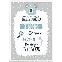 Lamina Natalicio personalizada azul regalo original recién nacido decoración dormitorio
