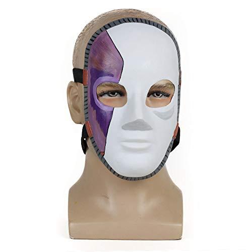 Kostüm Tier Themen Tanz - HLXXX Sally Face Spielerisch um Naturlatexmaske Mädchen Rollenspiele Halloween-Thema Rollenspiele Requisiten,White Purple-OneSize
