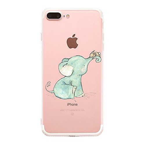 Qissy®TPU Case für iPhone 7 Plus 5,5 inch-Silikon-Hülle Soft Shell-Fall-Schutz Anti Shock Silikon Anti-Staub-beständig Tierischer Elefant (iPhone 7 Plus 5,5 inch, 11) 1