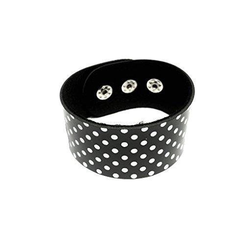 Bracelet en cuir imprimé pois noir/blanc